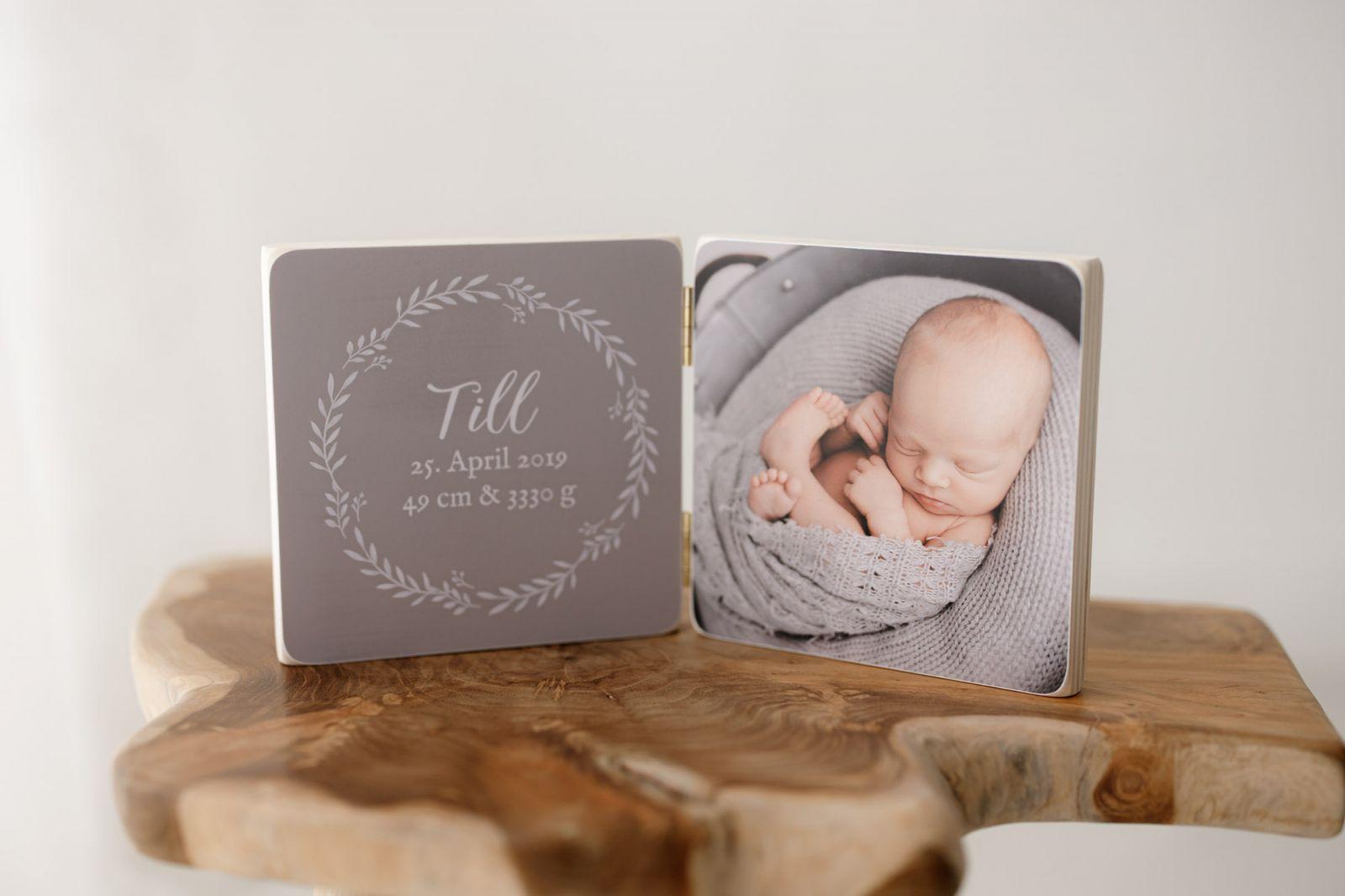 Muster graues Holzbild Neugeborenens Fotos Babyfotografie